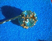 Retro Vintage Blue Rhinestone Recycled Earring Hair Pin