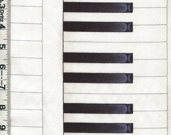 Fabric Andover Piano Keys keyboard lengthwise stripe Shaded black off white music pianist
