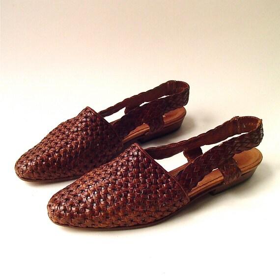 vintage Talbots Woven Brown Leather Sling Back Sandals