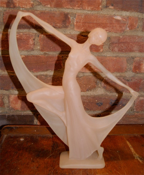 Sale Art Deco Dancer Frosted Acrylic Female Sculpture In Pale