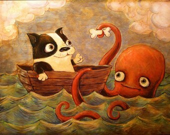 Sea Pals -- Art Print of Boston Terrier and Octopus