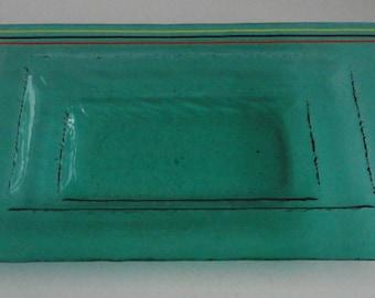 Green Clear Glass Rectangular Dish. Hot Molded Glass