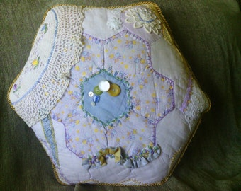 Lilac and Lemon Hexagon Crazy Quilt Pillow