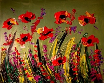 Superb Palette Knife Textured Abstract POPPPIES Painting Original Heavy Texture Impasto Palette Knife Acrylic Wall Décor By Mark Kazav