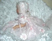 VICTORIAN  Hand tinted Raised Roses Pink DRESS for BABY  0-3 mth or Reborn Doll