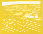 Floating Back Linocut Card - Yellow on White