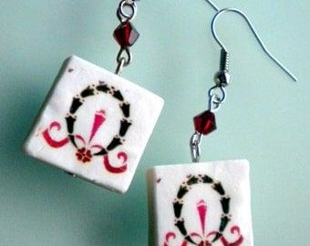 Portugal  Antique Tile Replica Earrings,  Aveiro Pink - waterproof and reversible 421