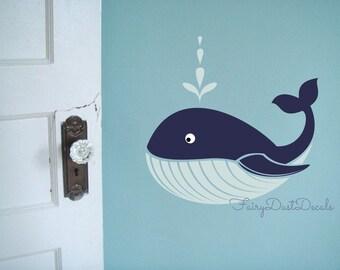 Whale Wall Decal - Ocean Beach Fish wall decor - whale vinyl wall decal - whale nursery - beach wall decals - blue whale wall decals - fish