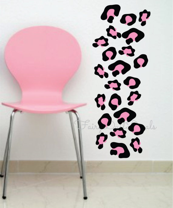 Leopard print wall decals Black u0026 Pink - or choose your own color  combination