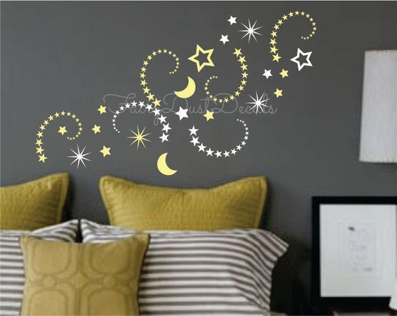 shooting stars and moon vinyl wall decals moon and stars wall. Black Bedroom Furniture Sets. Home Design Ideas