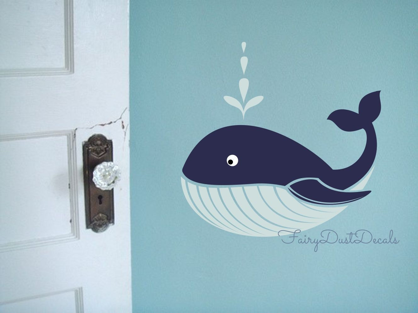 Whale Wall Decal Ocean Beach Fish Wall Decor Whale Vinyl