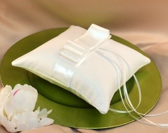 Triple Bow SATIN Ring Bearer Pillow...You Choose Your Colors..Buy One Get One Half Off...shown in white/white