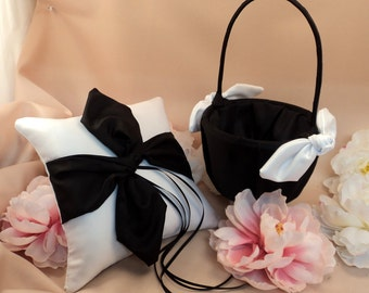 Knottie Style Flower Girl Basket and Ring Bearer Pillow Combo...You Choose The Colors..shown in white/black
