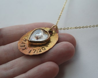 FAITH Brass Oval Hammered Gold Plated Heart Mustard Seed Necklace
