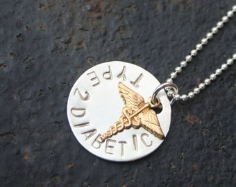 MEDIC ALERT Type 2 Diabetic Hand Stamped Sterling Silver Necklace
