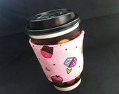 Reusable Coffee Cozy - Pink Cupcakes