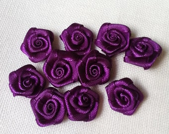 14mm - amethyst purple ribbon rose - 30 pcs (Rib-F-041)