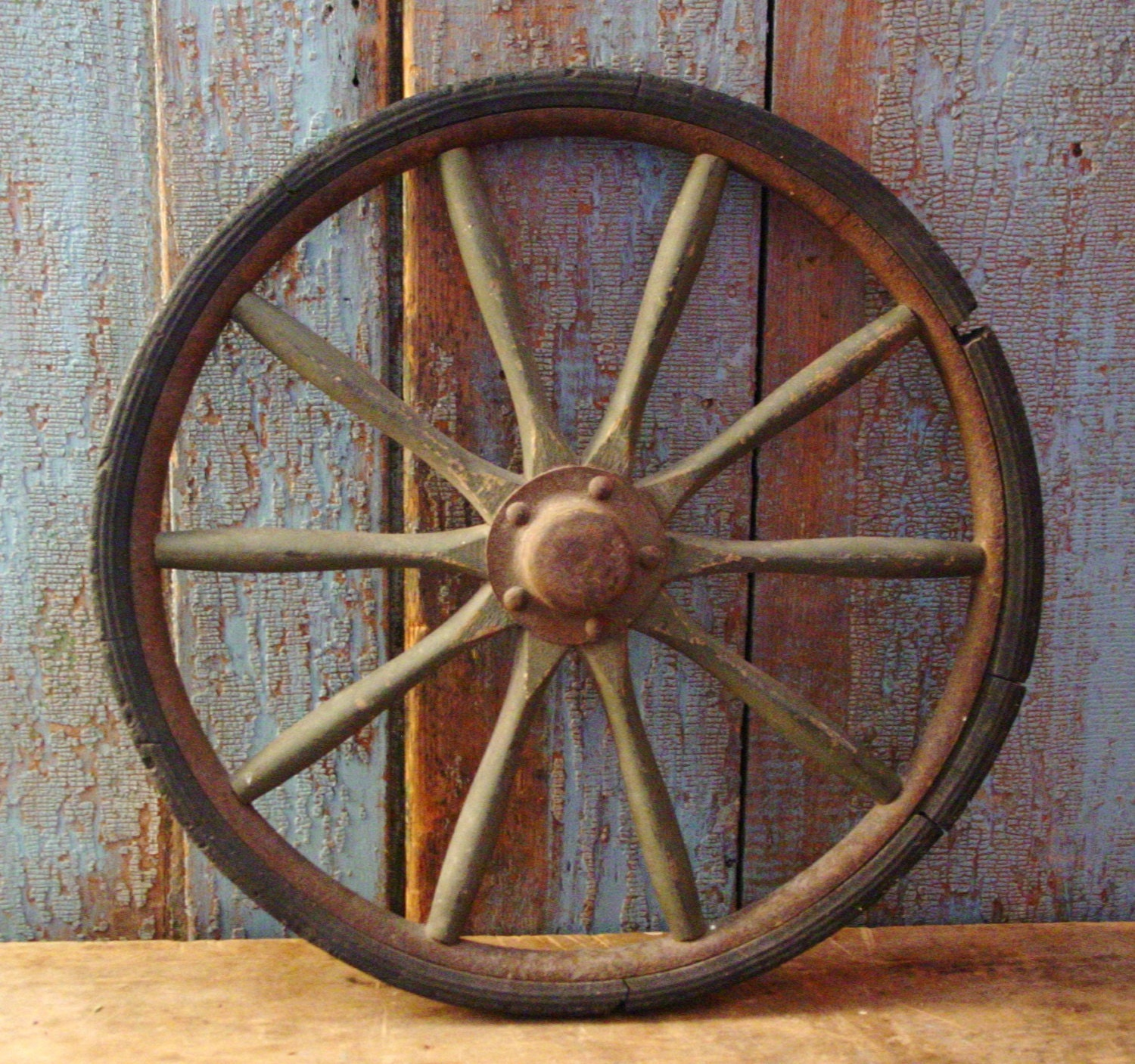 Antique Wagon Wheel Wood Wooden Spokes Log Cabin Decor