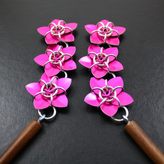 Pick your Colors - Two Cascading Scale Flower Hair Sticks