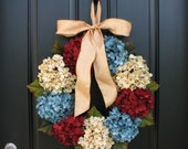 Patriotic Wreaths,July 4th Wreaths,Vintage Inspired,Summer Wreaths,Hydrangeas,Primitive Decor,Wreath,Cottage Chic Decor