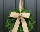 Boxwood Wreath - Spring Decor - Burlap Bow - Boxwood Wreath - Door Wreaths