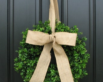 Boxwood Wreath - Spring Decor - Burlap Bow - Boxwood Wreath - Door Wreaths
