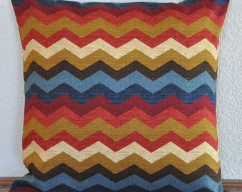 Decorative Pillow Cover  Zig Zag Chevron in Red Blue Gold and 20x20 inches