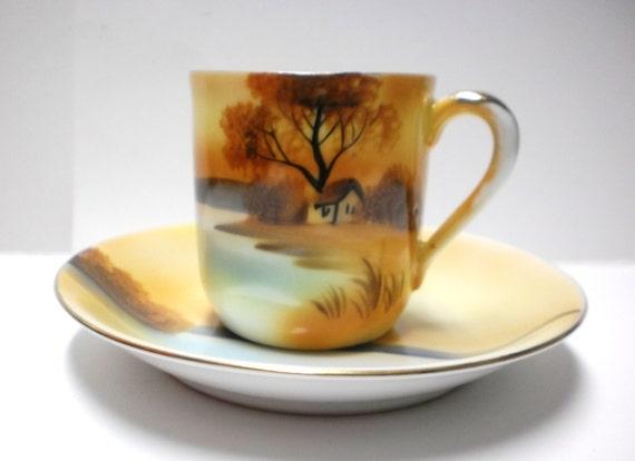Items Similar To Noritake Demitasse Cup Saucer China Hand