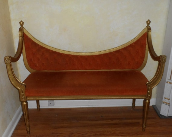 vintage FRENCH SETTEE BARBOLA - Italian loveseat - Regency - urns - neo classic bench - Like on cover of Romantic Homes - Scandanavian