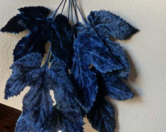 Navy Velvet Leaves Vintage Japanese for Hats, Headbands, Boutonnieres, Bridal, Costumes ML 90