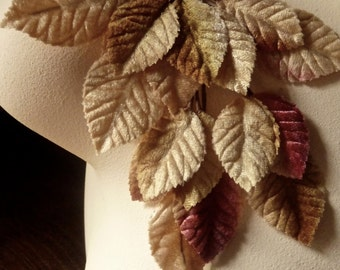 Velvet Leaves in Caramel & Raspberry for Bridal, Boutonnieres, Bouquets, Millinery ML 9
