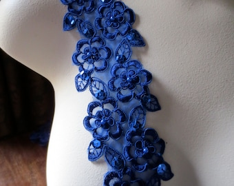 Cobalt Blue Lace Trim Embroidered with Faux Pearls for Bridal, Jewelry or Costume Design BL 4001cob
