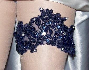 Sale Wedding Garter FREE Toss Garter,Bridal Garter,Something Blue,plus size garter,Garter Set.Lace Garter Set,Navy Garter Set,NavyGarter