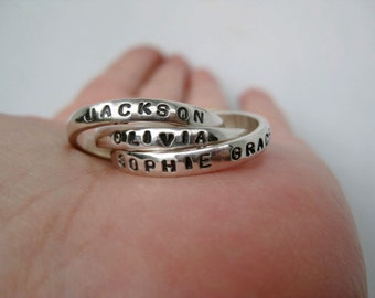 Triple Interlocking Personalized Ring - Mother's Ring, Father's Ring, Russian Wedding Ring, Overlapping Ring, Resolution Ring