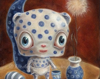 Polish Pottery Chipmunk Still Life, Big Eye Art,  Creepy Cute & Funny Surreal Art Print,  KNOWLES, Size Options Available