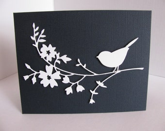 White Bird with Blossoms on Textured Midnight Blue or White Linen Card / Wedding, Anniversary, Sympathy / A2 Size / Made to Order