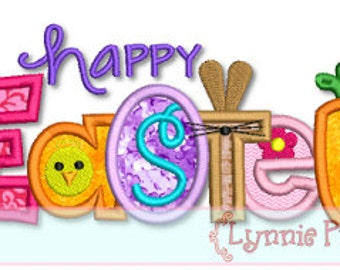 HAPPY EASTER  Collage Word  Applique 4x4 5x7 6x10 svg  Machine Embroidery Design INSTANT download