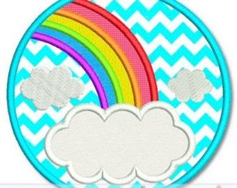 RAINBOW FRAME Circle Applique 4x4 5x7 6x10 7x11 SVG  Machine Embroidery Design