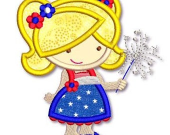 SPARKLER Cutie GIRL  Applique 4x4 5x7 6x10 svg  Machine Embroidery Design 4th July Independence Day  INSTANT Download