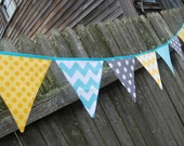 Birthday Party Banner in Gray, Yellow, Aqua Blue, Teal Bunting Decoration, Modern Cloth. fabric flags - boy, girl