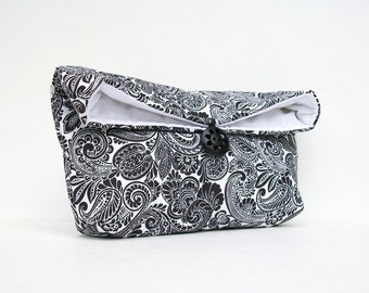 Black and White Clutch, Black Clutch, Paisley Clutch, Bridesmaid Gift, Bridesmaid Clutch, Makeup Bag, Wedding Accessory, Bridal Accessory