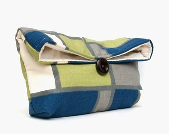 Navy Blue, Gray, Green and Natural Gemoetric Clutch, Squares and Rectangles, Makeup Bag, Bridesmaid Gift