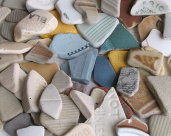 64 Beach Pottery Shards Art Mosaic and Craft Supplies (1476)