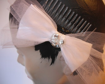 Bridal Bow comb, white taffeta and tulle bow , vintage rhinestone button