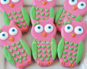 Custom cute owl cookies 1 dozen