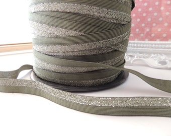 "5/8"" Inch Fold Over Elastic -- 5 Yards Green Olive Sparkle  FOE (Limited Edition)"