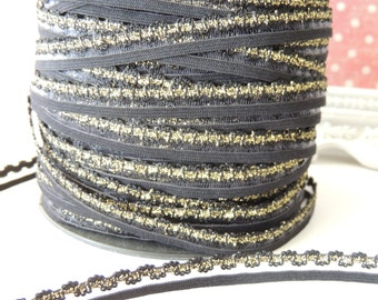 """5 Yards (3/8"""" Inch Scalloped Elastic Lace) Black and Gold Sparkle"""