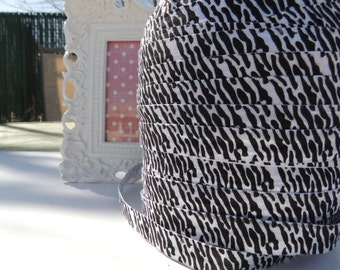 "5 Yards of 5/8"" Zebra Printed Fold Over Elastics FOE -Black and White"