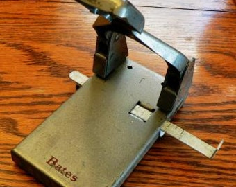 vintage office funk ...  Office BATES HOLE PUNCH Retro mid century Industrial flat rough metal  ...