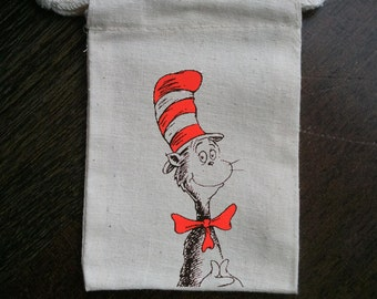 Cat In The Hat Classic Inspired Muslin Party Favor Bag